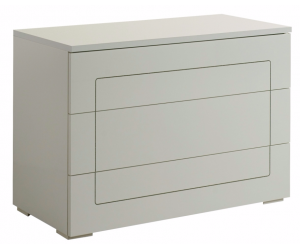 Commode adulte 3 tiroirs design blanc laqué qualité supérieure ROMANTIQUE