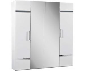 Armoire 4 portes design blanc laqué et chromé qualité supérieure STARLA