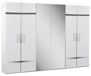 Armoire 6 portes design blanc laqué et chromé qualité supérieure STARLA