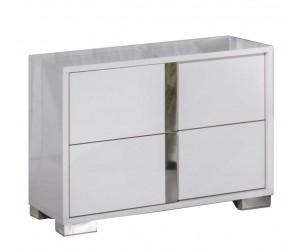 Chevet design 2 tiroir blanc laqué et chromé qualité supérieure STARLA
