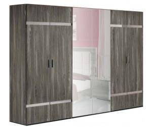 Armoire 6 portes design gris laqué et chromé qualité supérieure LUXES