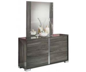 Commode 3 tiroirs + miroir design gris laqué et chromé qualité supérieure LUXES
