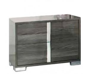 Chevet design 2 tiroir gris laqué et chromé qualité supérieure LUXES