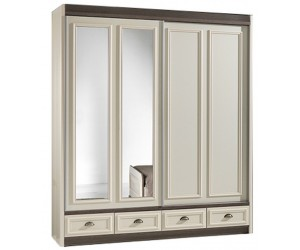 Armoire 2 portes coulesentes coloris chêne brun/porcelaine beige LANETTE
