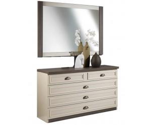 Commode + miroir coloris chêne brun/porcelaine beige LANETTE