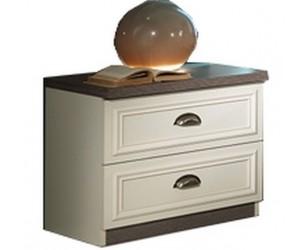 Chevet design 2 tiroir coloris chêne brun/porcelaine beige LANETTE