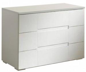 Commode 3 tiroirs design design blanc laqué qualité italien ERIKA