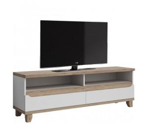 Meuble TV contemporain 170 cm avec 2 niches et 2 tiroirs coloris chêne et blanc Mélanie