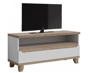 Meuble TV contemporain 120 cm avec 1 niche et 1 tiroir coloris chêne et blanc Mélanie