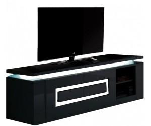 Meuble TV blanc laqué design lumineux DORIA