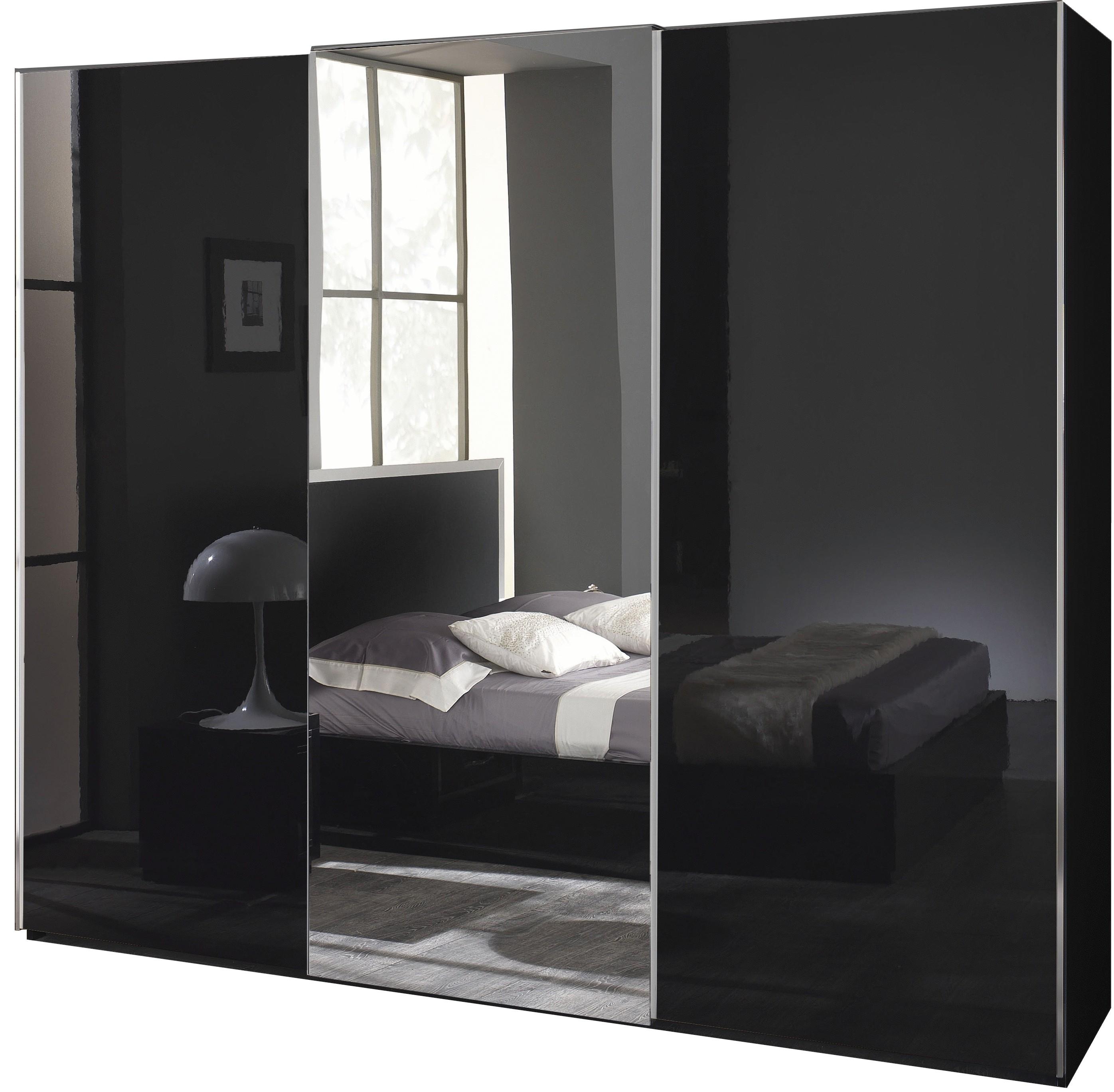 Armoire A Coulissantes Garde Robes Design 225cm Noir Laque Qualite Italien Sevilla