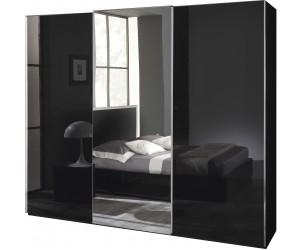 Armoire à coulissantes garde-robes design 225cm noir laqué qualité italien SEVILLA