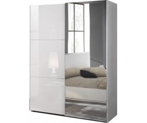 Armoire à coulissantes 180 cm design blanc laqué ligne chrome qualité italien AMARIO