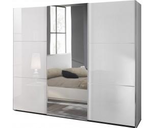 Armoire à coulissantes design 266 cm design blanc laqué ligne chrome qualité italien AMARIO