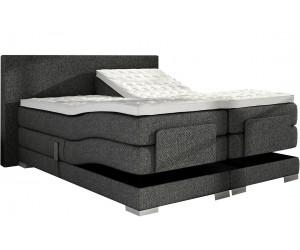 Lit boxspring electrique 160 x 200 cm en tissu gris lux bed pas cher spring box premium PRESTIGE