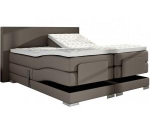 Lit boxspring electrique 160 x 200 cm en eco cuir taupe lux bed pas cher spring box premium PRESTIGE