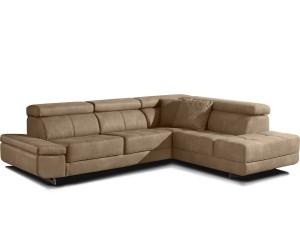 Canapé d'angle design confort haut de gamme tissu microfibre beige ROTTERDAM