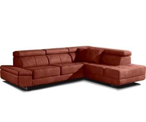 Canapé d'angle designe confort haut de gamme tissu microfibre camel ROTTERDAM
