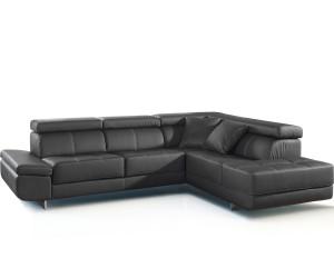 Canapé d'angle convertible lit cuir synthétique noir ROTTERDAM