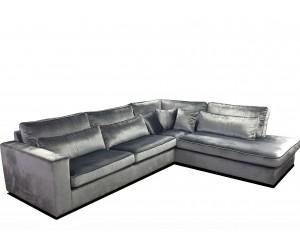 Canapé d'angle droit ou gauche déhoussable en tissu coloris gris ANTEGA