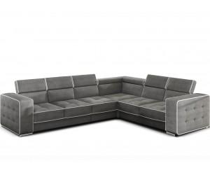 Canapé d'angle desing têtières sont réglables haute résilience tissu gris HOUSTON