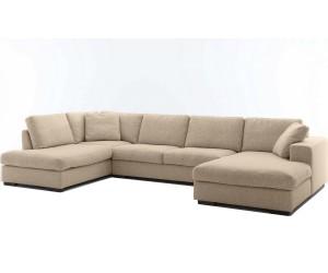 """Canapé d'angle en forme de """"U"""" déhoussable avec une méridienne à gauche ou droit coloris tissu beige SANTIAGO"""