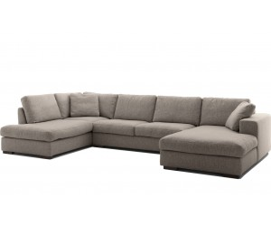 """Canapé d'angle en forme de """"U"""" déhoussable avec une méridienne à gauche ou droit coloris tissu taupe SANTIAGO"""