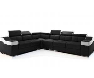 Canape d'angle modulable bicolore en et cuir look blanc et noir SIMILEY