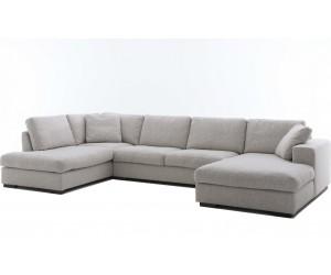 """Canapé d'angle en forme de """"U"""" avec une méridienne à gauche ou droit coloris tissu beige SANTIAGO"""