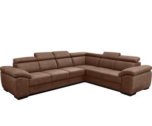 """Canapé d'angle en forme de """"L"""" avec une méridienne à gauche ou droit coloris tissu camel DAMME"""