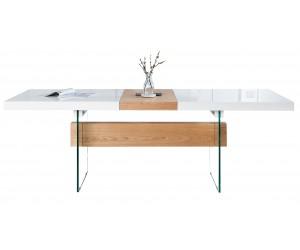 Table à manger Onyx 160-200cm chêne blanc verre