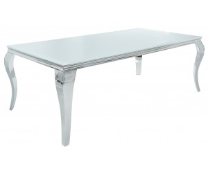 Table à manger baroque moderne 200cm argent blanc