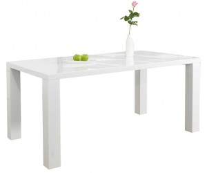 Table à manger Lucente blanc brillant 160cm