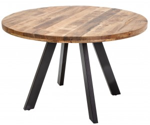 Table à manger Iron Craft 120cm ronde mangue naturelle