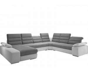 Canapé d'angle design bicolore simili blanc et tissu gris ARNAUD XL