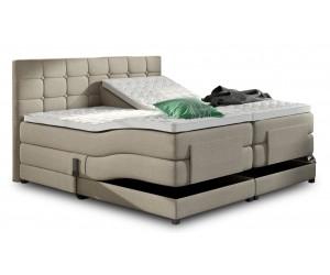 Lit boxspring electrique 160 x 200 cm en tissu beige lux bed spring box premium PRESTIGE