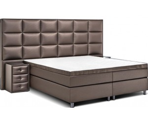 Boxspring de qualité bedden design avec matelas et 2 tables de nuit luxury taupe VERSUS