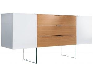 Buffet Onyx 160cm en verre chêne blanc
