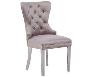 Chaises de salle à manger design capitonnées beige pieds chorome ANNEAU