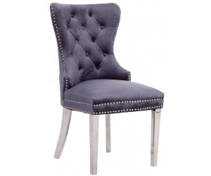 Chaises de salle à manger design capitonnées gris pieds chorome ANNEAU