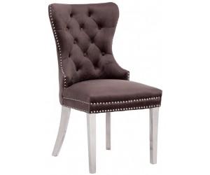 Chaises de salle à manger design capitonnées noir pieds chorome ANNEAU