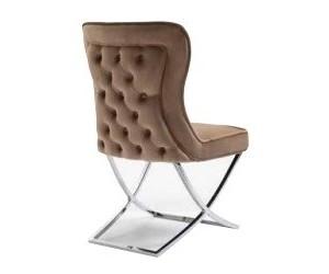 Chaises de salle à manger design capitonnées brun pieds chorome DIMITRI