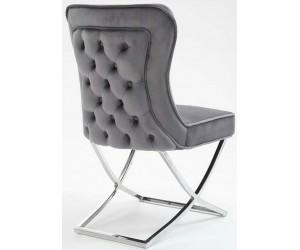 Chaises de salle à manger design capitonnées gris pieds chorome DIMITRI