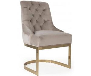 Chaises de salle à manger design capitonnées creme pieds gold HOLZ