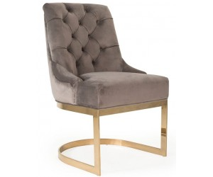Chaises de salle à manger design capitonnées taupe pieds gold HOLZ