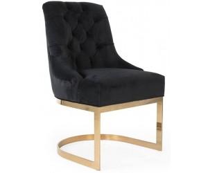 Chaises de salle à manger design capitonnées noir pieds gold HOLZ