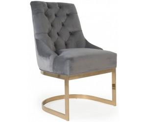 Chaises de salle à manger design capitonnées gris pieds gold HOLZ