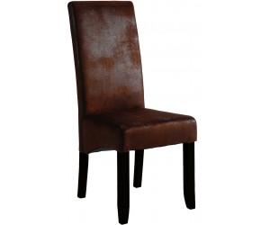 Chaise de salle à manger contemporaine brun foncé BADINE