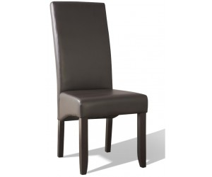 Chaise de salle à manger contemporaine brun simili cuir BADINE