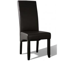 Chaise de salle à manger contemporaine noir simili cuir BADINE